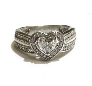 925 Sterling Silver .20ct I3 I-J diamond heart shape cluster ring 2.9g size 3.5