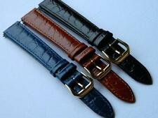 Genuine Calf Leather Embossed CROCO Pattern Watch Strap Long Antiallergic Buckle