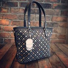 Womens Black Jewel Medium Faux Leather Moda Tote Handbag Free River Island Gift
