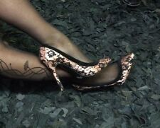REDUCED Sexy Black Lace Over Pink Satin Court Shoes Pin Up  Size 7