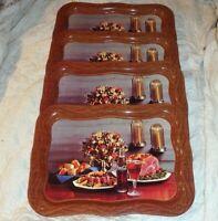 Original Coca Cola 1962 TV Tray Ham & Coke by Candlelight Set of 4