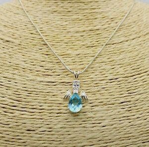 """925 Sterling Silver Birthstone Guardian Angel Ladies Necklace Pendant Blue 17"""""""