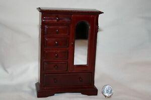 Miniature Dollhouse Town Square Victorian Mahogany Armoire Vintage 1:12 NR