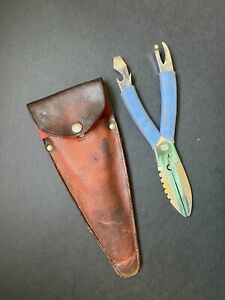 Vintage Combination Multi Tool w/ Blade~Pliers~Opener~Leather Case DBGM Germany
