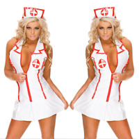 New Women Lingerie Nurse Outfit Set Costume Cosplay Uniform Babydoll Dress Sexy