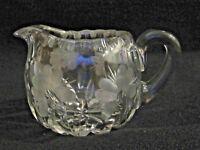 Elegant Etched Clear Glass Crystal Creamer Flower Floral Jug Pitcher ABP?