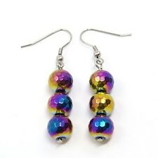 Wholesale Lot 8 Pair Non-Magnetic Iridescent Hematite VTG Retro Style Earring