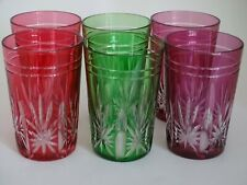 6 VINTAGE ROEMER TEA GLASS CRYSTAL VAL ST LAMBERT  COLORS