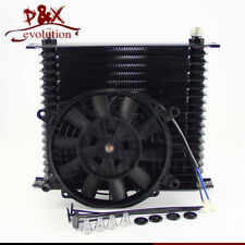 "AN10 Trust 19 Row Engine Oil Cooler 10.6""x12""x2"" + 7"" Electric Fan For Chevrolet"