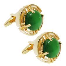 elegantes gemelos de camisa de hombre de boda de piedra de ópalo verde