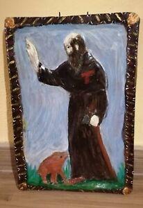Icona Targa Votiva sant antonio abate in terracotta Dipinta a mano