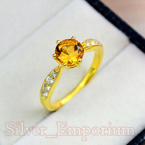 7 MM Natural Citrine Round Gemstone 925 Sterling SIlver Anniversary Ring For Her