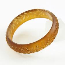 Vintage Lucite Bracelet Bangle Floral Carving Frosted Amber Color