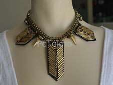 Urban Outfitters Arrow-on-Leather Bib Statement Necklace NEW