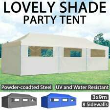 vidaXL Folding Pop-up Party Tent with 8 Sidewalls 3x9m Anthracite/Blue/Cream