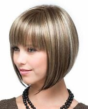 Women Short Straight Bob Wig with Mix Color Fashion Full Bangs Soft Touch