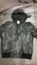Topman hooded leather jacket