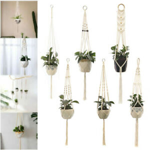 Braided Macrame Plant Flower Pot Holder Hanger Hanging Planter Basket Hemp Rope