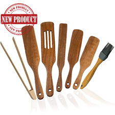 Set 7 Wooden Spurtle Kitchen Tool Natural Acacia Cookware Spatula Spoon Utensils