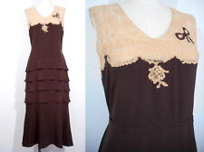 1920's FLAPPER DRESS Tiered Design Lace Appliques Great Gatsby Art Deco Vintage