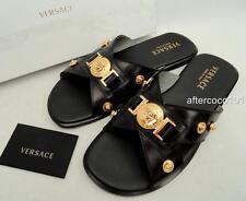VERSACE MENS Medusa Black Leather Sandals Shoes UK5-5.5 EU39.5 US6-6.5