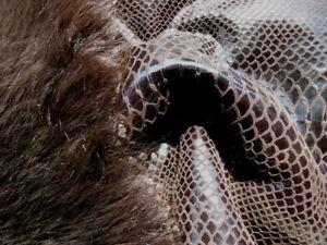 sheepskin leather hide Walnut Brown Toscana long silky hair w/Snake skin back