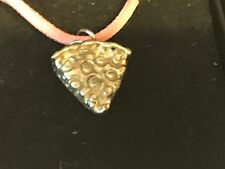 """Pizza Slice TG161 English Pewter On a 18"""" Pink Cord Necklace"""
