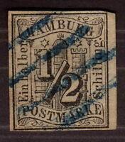 1859, Hamburg, 1/2 Schilling, Imerforated Used, Cat 600€