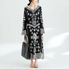 Baumwolle Leinen Stickerei Blumenmuster Locker Baggy Kleid
