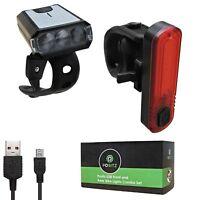 Positz Slimline ↔ 80 Lumens USB Front/Rear Bike Lights Combo Set w/ Chips COB