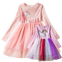 Kids Baby Girls Unicorn Princess Fancy Costume Party Pageant Tulle Tutu Dresses