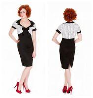 Lindy Bop Retro Vintage 50s Laney Black White Polka Pencil Wiggle Dress 10-20