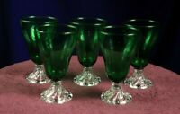 Circa 1950's Set of 5 Anchor Hocking Green & Clear Water Burble Glass Goblets