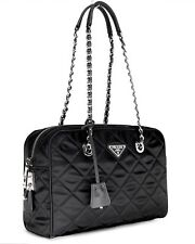 Prada Tote Quilted Black Nylon Chain Shoulder Bag NWT