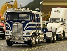 1/64 DCP WHITE/BLUE KENWORTH K100 FLAT TOP LONG FRAME