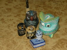 Lot of 5 Various OWL Figurine Vintage Hand Made Statue Blue & White, Bone, Wood
