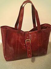 Red Patent Faux Crock Leather Tote Purse Shopper Bag w/ Buckle Elizabeth Arden