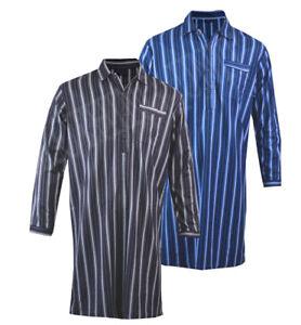 Mens Night Shirt Traditional Striped Nightshirt Flannel Warm 100% Cotton  M-XXL
