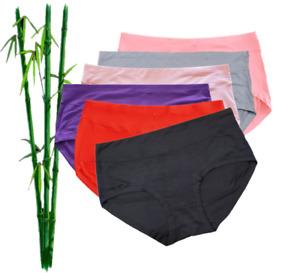 6 Pack Women's Bamboo Panties Mid-Waist Brief Ladies Underwear 6 Colors Size 14