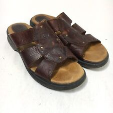 Ariat Women's 10 B Brown Leather Slip On Slides Open Toe Sandals Style 21444
