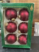 Vintage Christmas By Krebs Glass Tree Ornaments Ruby Red Set of 6