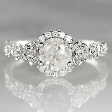 NATURAL DIAMOND 3/4ct ENGAGEMENT RING FLORAL RUSTIC WHITE GOLD SALT AND PEPPER