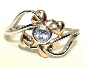 Clogau Silver 9ct gold Aquamarine Ring  Love Vine  RRP 149 Size N BRAND NEW