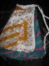 "New VINTAGE Silk sari wrap SKIRT / DRESS FREESIZE (8-16 best) 30"" Long (code23)"