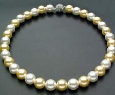 """18""""9-10mm natural south sea white gold round pearl necklace"""