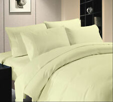 Duvet Set + Fitted Sheet Super King Size Ivory Solid 1000 TC Egyptian Cotton