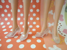 Doll Shoes ~ 2PAIRS Barbie Cinderella Clear High Heel Shoes #S2202 NEW