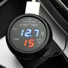 Universal Cigarette Lighter usb Charger Digital LED Display VoltmeterThermometer