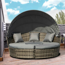 More details for outsunny 5 pcs cushioned outdoor rattan round sofa daybed table w/ hammock set