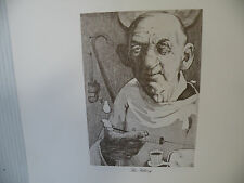 """Art print Charles Bragg artist black Lithograph """"The Filling"""" Duotone Signed"""